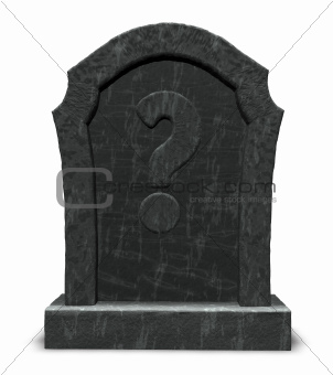 gravestone with question mark