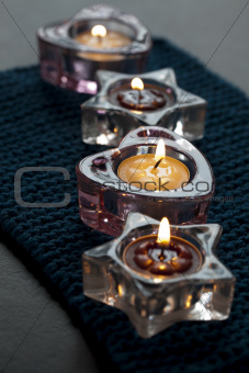 Candles on blue mat