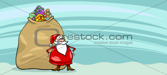 Santa Claus and sack cartoon card