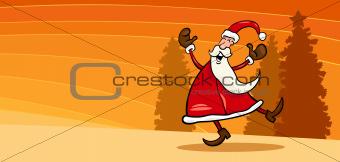 happy Santa Claus cartoon card