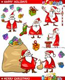 Cartoon Set of Santa Christmas Themes
