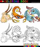 Fantasy animals characters for coloring