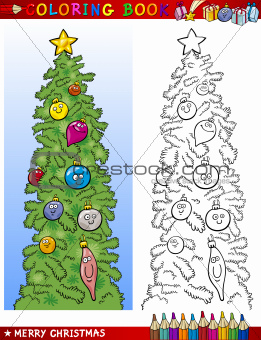 christmas tree for coloring book