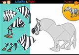 Cartoon zebra puzzle game