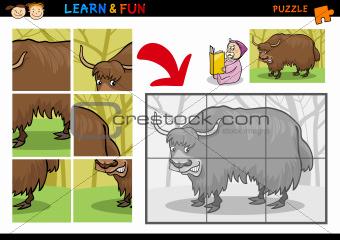 Cartoon yak puzzle game