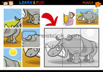 Cartoon rhinoceros puzzle game