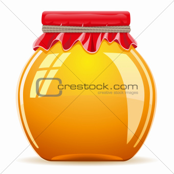 honey in the pot with a red cover vector illustration