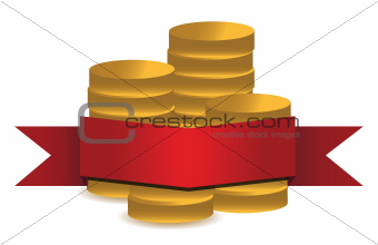 coins and red banner