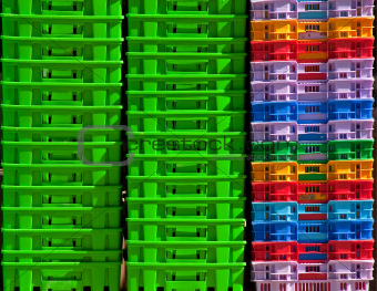 Colorful plastic containers.