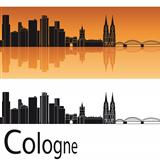 Cologne skyline in orange background