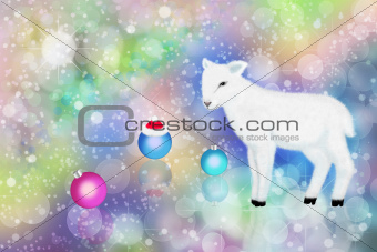 White lamb and colorful bokeh