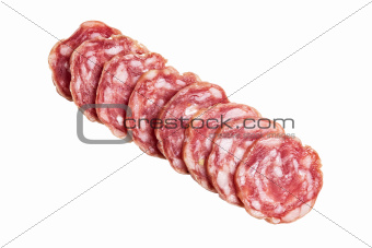 sliced salami directly above