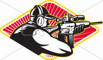 Hunter Shooter Aiming Rifle Retro