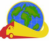 Delivery Truck Lorry Globe Retro