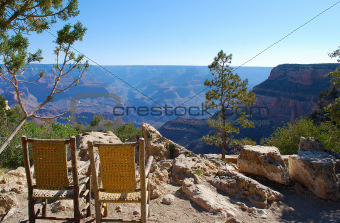 Cane Chairs Overlooking the Grand Canyon