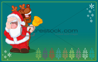 FUNNY SANTA CLAUS AND REINDEER SINGING christmas card