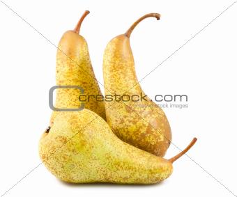 Three yellow ripe pears