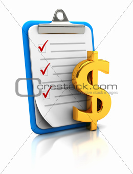 Clipboard with dollar sign