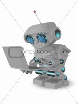 robot and laptop