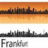Frankfurt skyline in orange background