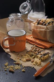 Peanut cookies with milk for breakfast