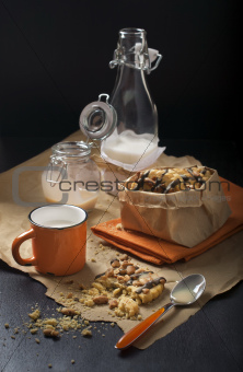 Breakfast with milk and peanut cookies