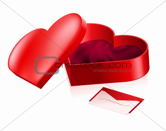 Red box in heart shape