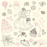 Wedding set of cute hand drawn illustration.