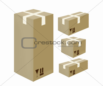 Isometric card-box icons