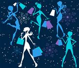 Christmas Shopping Silhouette Girls
