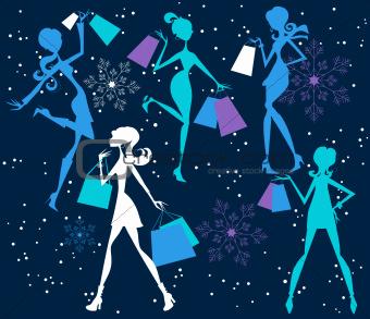 Christmas Shopping Silhouette Girls