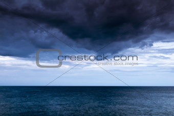Dark clouds over the sea