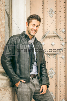 young man black leather