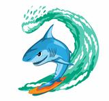 Cartoon shark surfer