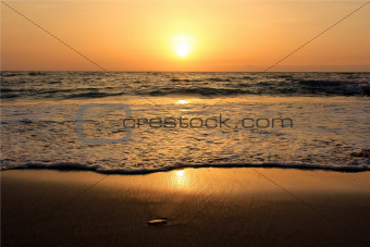 golden sunset in the Mediterranean Sea