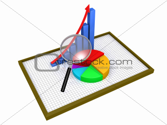 Graphic charts on a board with grid and a magnifier