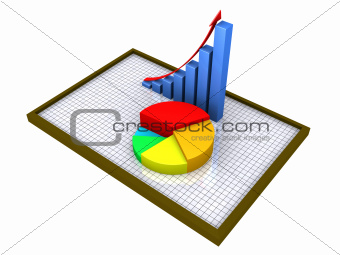 Graphic charts on a board with grid