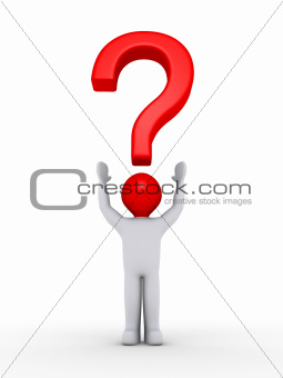 Person with question mark symbol over his head