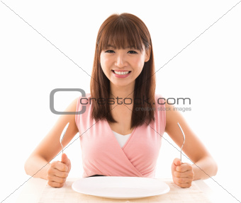Asian woman ready for food