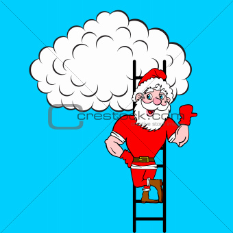 Santa Claus  coming up the stairs to cloud