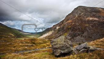 View along Nant Francon valley Snowdonia National Park landscape