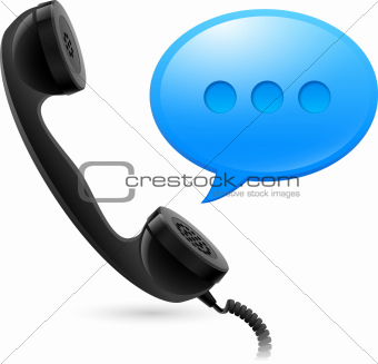 Black Handset and blue speechbox