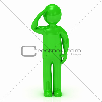 3D green man soldier salutes