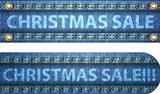 Christmas sale words on blue jeans background