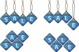 Set of sale shopping labels made of jeans