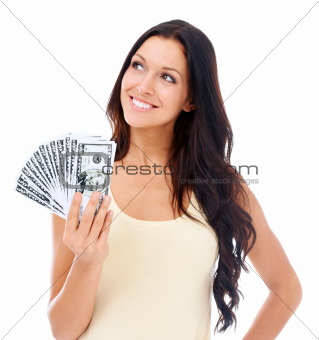 Loving the feel of her money