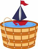 Toy boat in a bathtub barrel