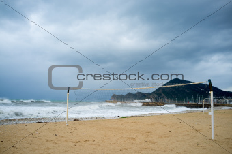Stormy resort beach