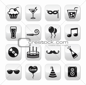 Party buttons set - birthday, New Year's, Christmas