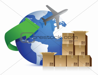 shipping boxes and plane